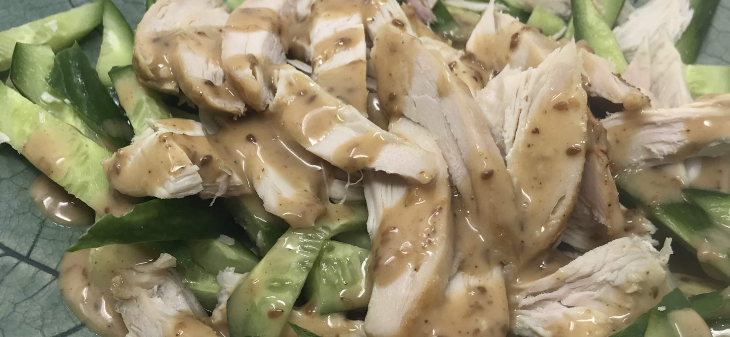 Poached Chicken Breast with Cucumbers and Sesame Dressing
