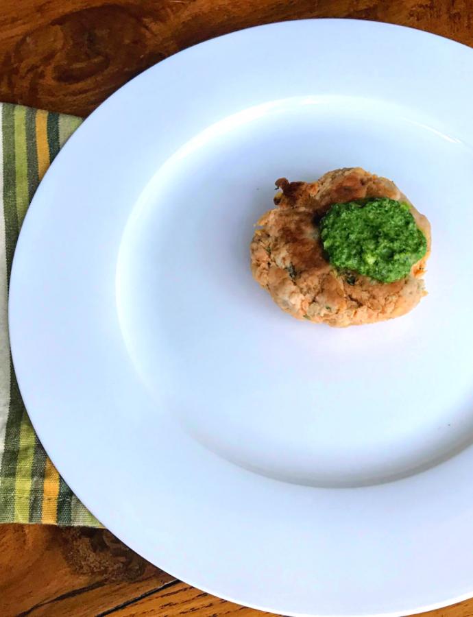 Spinach Pesto and Salmon Patties