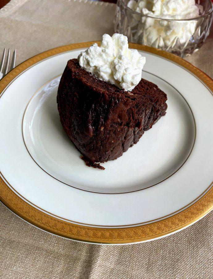 Devilishly Dark Chocolate Cake with Whipped Cream
