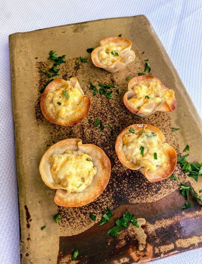 Artichoke Dip in Crunchy Wonton Cups ~ Appetizer