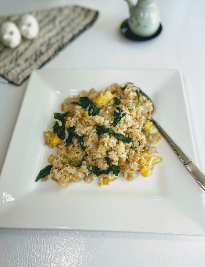 Vegetarian Spinach & Egg Fried Rice