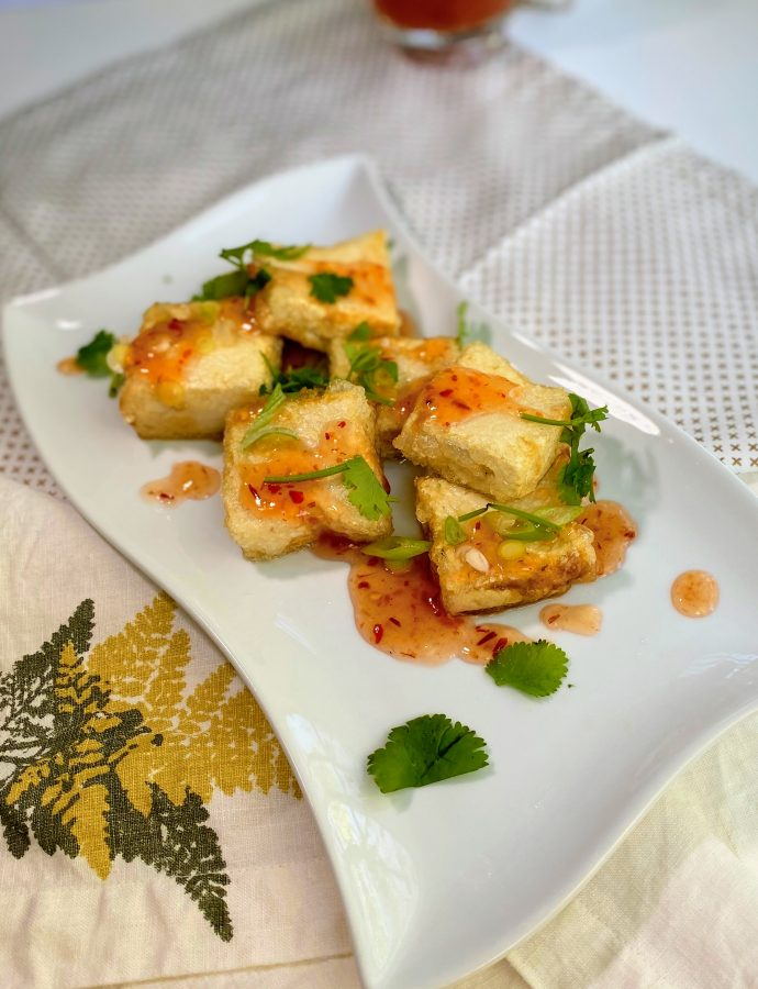 Fried Tofu with Sweet Chili Sauce